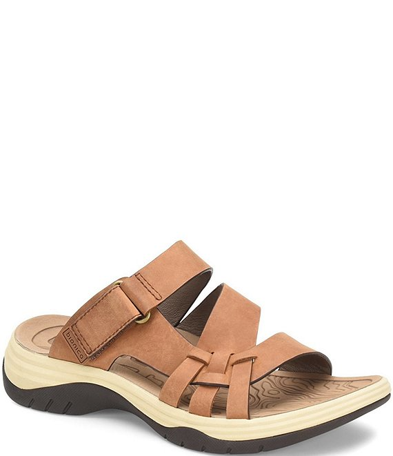 Color:Almond - Image 1 - Nerice Waterproof Leather Slide Sandals
