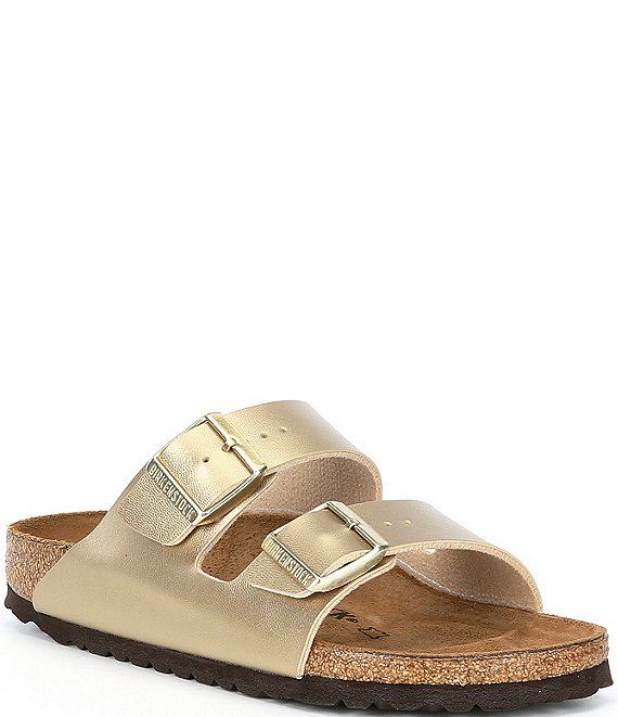 Color:Gold - Image 1 - Arizona Double Banded Buckle Slip-On Sandals