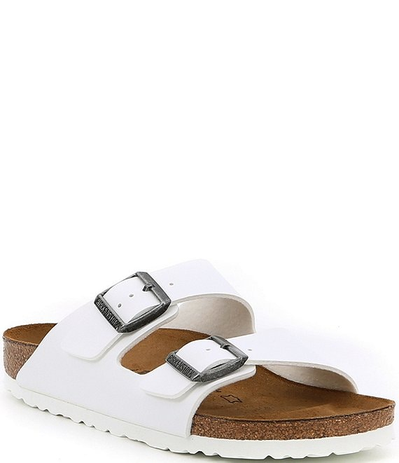 Color:White - Image 1 - Women's Arizona Double Banded Buckle Slip-On Sandals