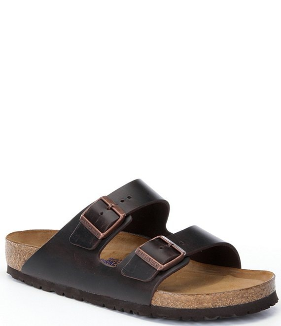 Birkenstock Arizona Men's Leather Double Banded Buckle Slide On Sandals