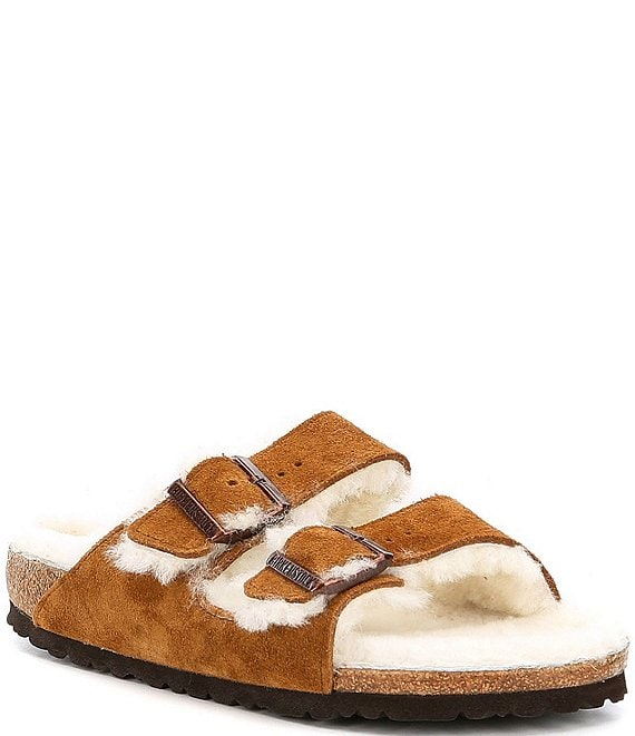 Color:Mink - Image 1 - Women's Arizona Suede Double Buckle Fur Lined Shearling Sandals