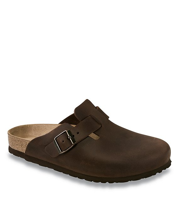 Color:Brown - Image 1 - Boston Men's Leather Round Toe Clogs