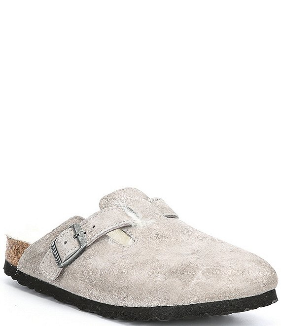 Boston Suede Shearling-Lined Clogs