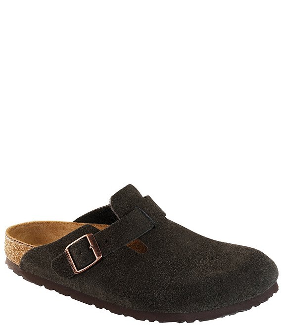 Color:Mocha - Image 1 - Men's Boston Suede Slide On Soft Footbed Clogs