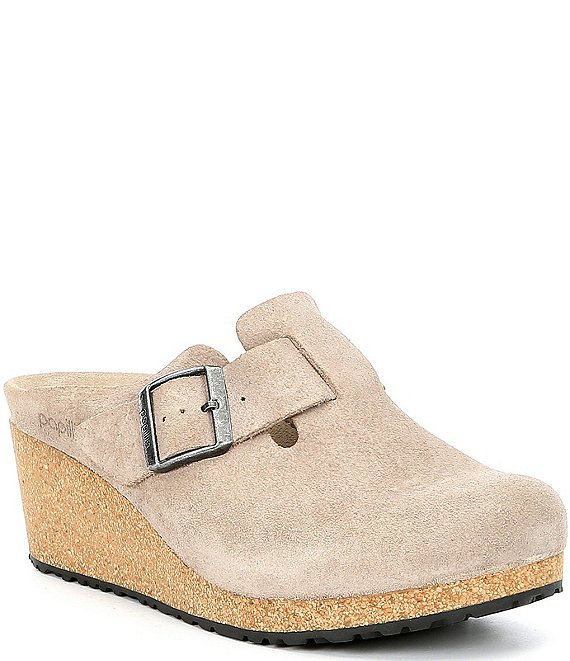 Color:Taupe - Image 1 - Papillio by Birkenstock Fanny Suede Wedge Clogs