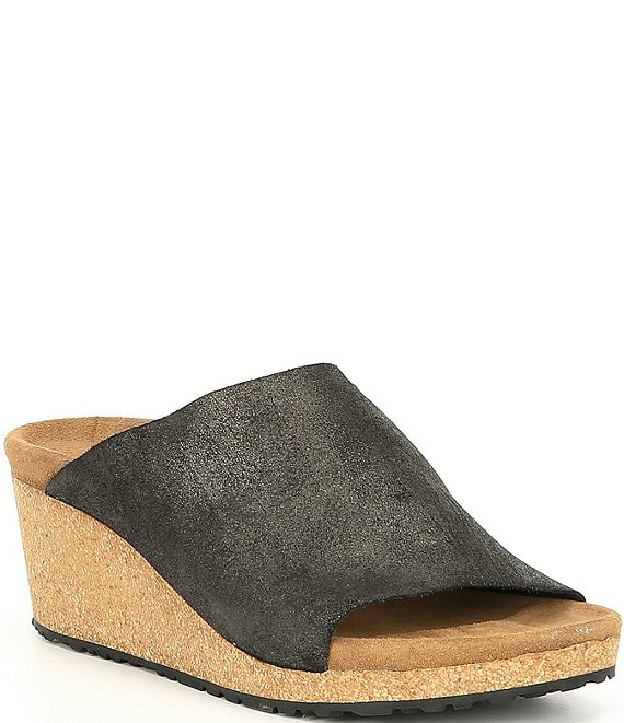 Color:Anthracite - Image 1 - Papillio by Birkenstock Namica Washed Metallic Leather Cork Wedges