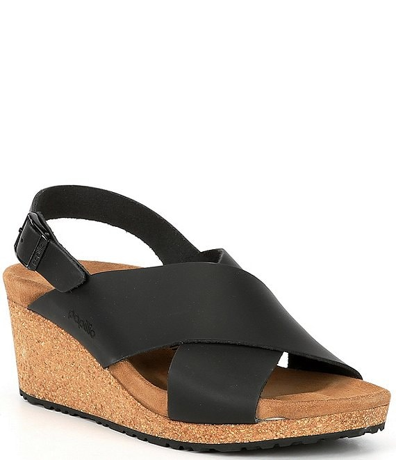 Color:Black - Image 1 - Papillio by Birkenstock Samira Leather Cross Band Wedge Sandals