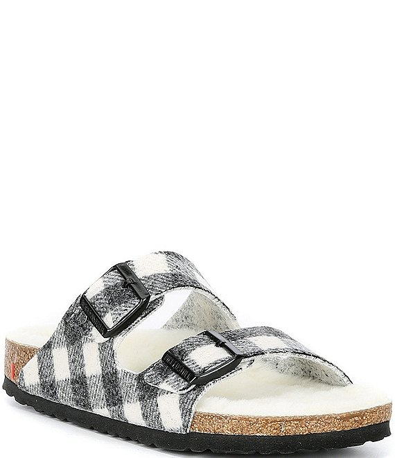 Color:Black - Image 1 - Women's Arizona Plaid Shearling Sandals