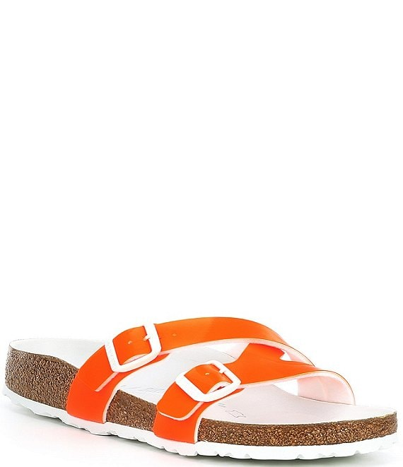 Color:Orange - Image 1 - Women's Yao Hex Patent Birko-Flor Slide Sandals