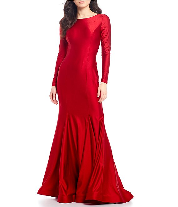 Color:Red - Image 1 - Long Sleeve Lace-Up Back Stretch Satin Trumpet Dress