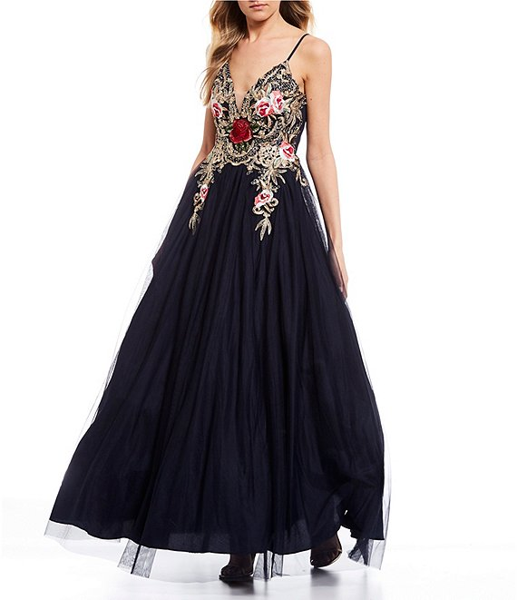 Color:Navy/Multi - Image 1 - Spaghetti Strap V-Neck Embroidered Floral Bodice Mesh Ball Gown