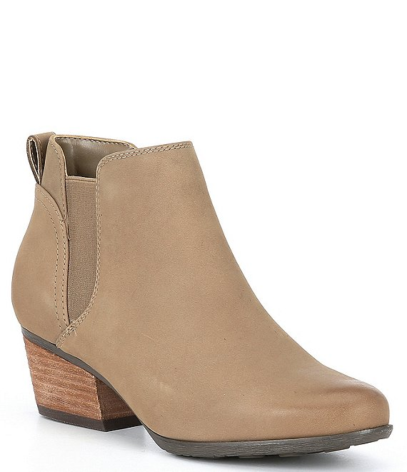 Color:Mushroom - Image 1 - Vance Nubuck Leather Waterproof Wood Heel Booties