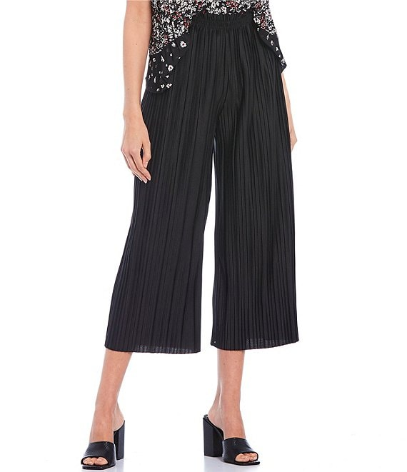 Color:Black - Image 1 - High Rise Crop Pleated Pants