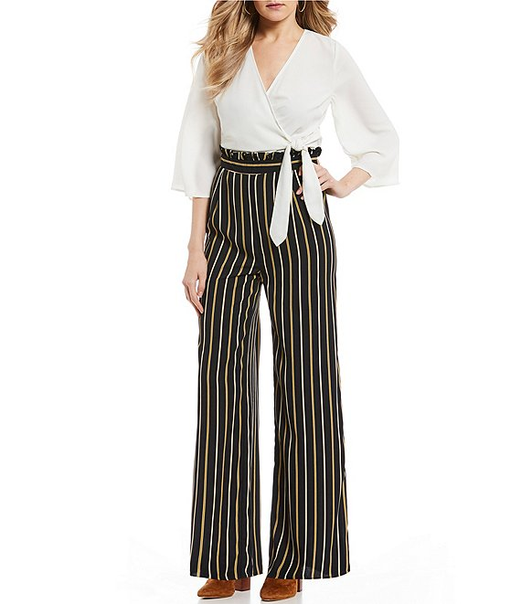 Blu Pepper Stripe Faux Wrap Pant Jumpsuit