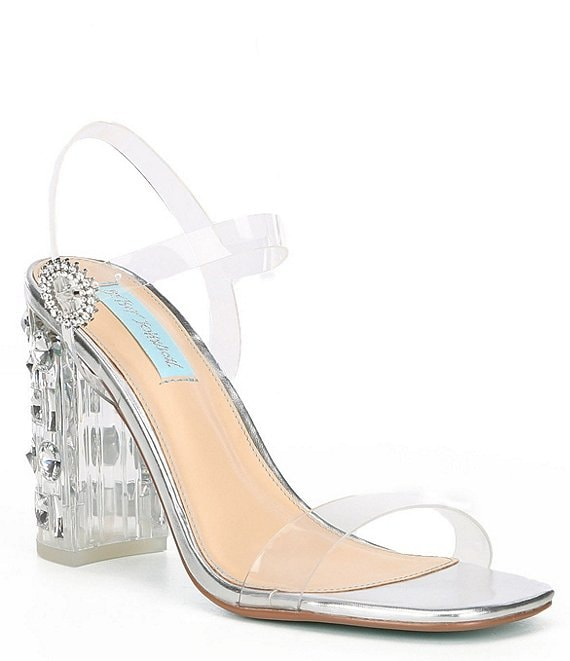 Blue by Betsey Johnson Erika Clear Jewel Embellished Block Heel Sandals