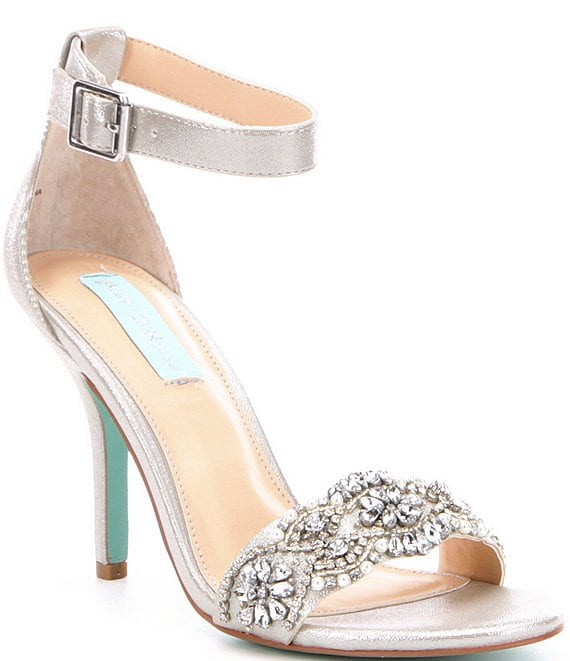 Color:Silver - Image 1 - Blue by Betsey Johnson Gina Jeweled Printed Ankle Strap Dress Sandals
