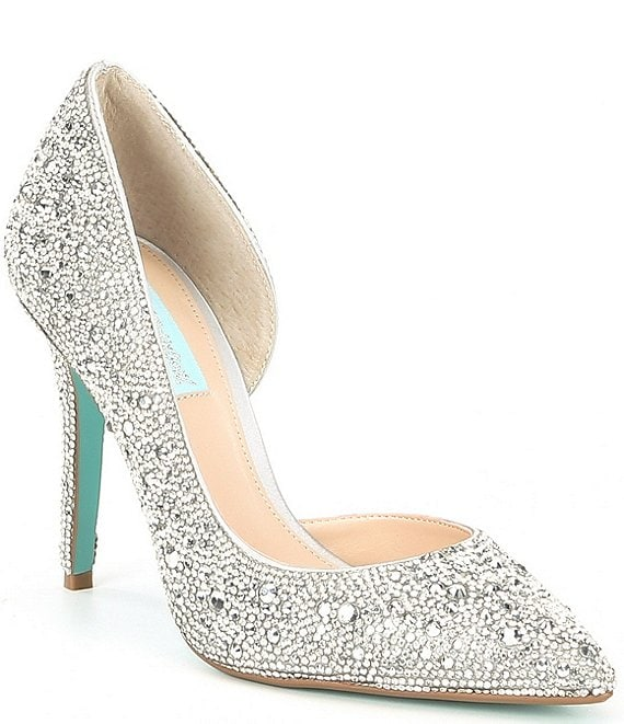 Color:Silver - Image 1 - Blue by Betsey Johnson Hazil Jeweled d'Orsay Pointed Toe Stiletto Pumps