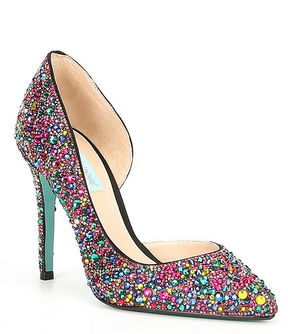 Color:Black/Multi - Image 1 - Blue by Betsey Johnson Hazil Rainbow Rhinestone Embellished Pumps