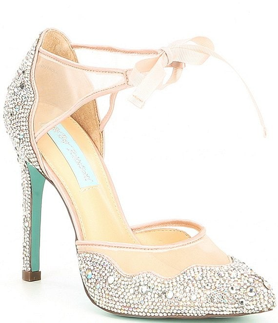 Color:Champagne - Image 1 - Blue by Betsey Johnson Iris Satin Rhinestone Stiletto Pumps