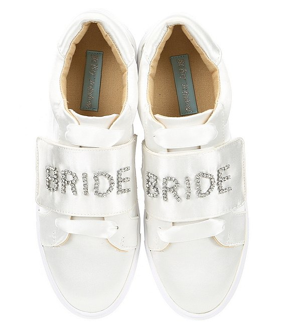 Color:Ivory - Image 1 - Blue by Betsey Johnson Liana Satin Jeweled Bride Sneakers