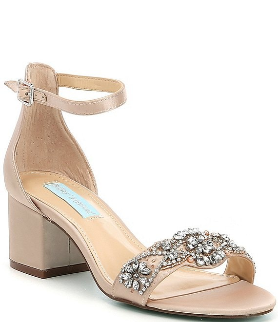 5d4442b924f7 Betsey JohnsonBlue by Betsey Johnson Mel Bejeweled Satin Block Heel Dress  Sandals