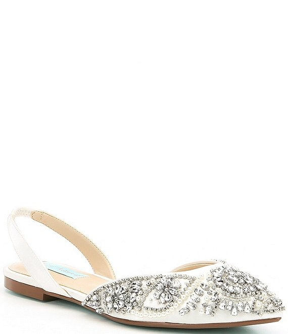 Color:Ivory - Image 1 - Blue by Betsey Johnson Molly Rhinestone Slingback Dress Flats