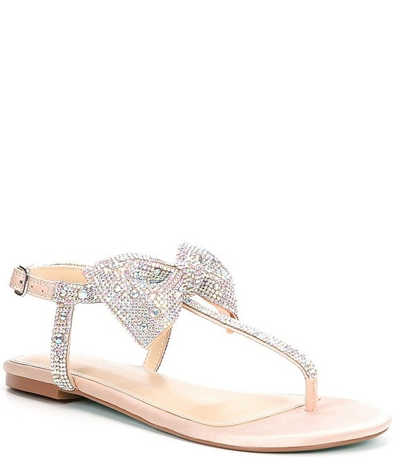 Color:Champagne - Image 1 - Blue by Betsey Johnson Sasha Rhinestone Embellished Bow Detail Thong Sandals