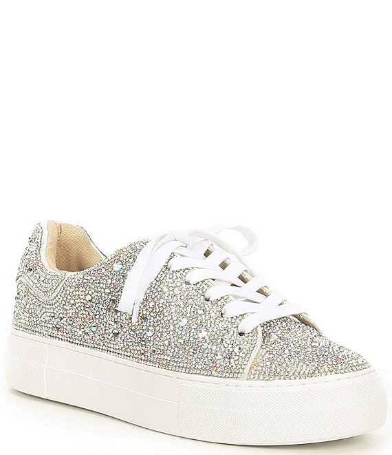 Color:Rhinestone - Image 1 - Blue by Betsey Johnson Sidny Rhinestone Embellished Lace-Up Sneakers