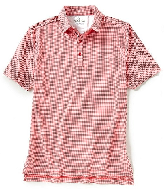 Color:Cambridge Red - Image 1 - Short-Sleeve Jacquard Performance Polo