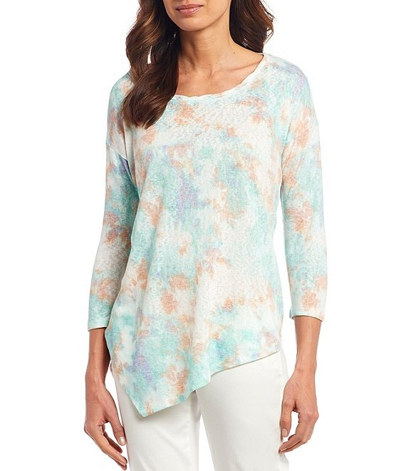 Color:Tie Dye Cloud Sand/Mint - Image 1 - Tie-Dye Cloud Print 3/4 Sleeve Asymmetrical Hem Knit Top