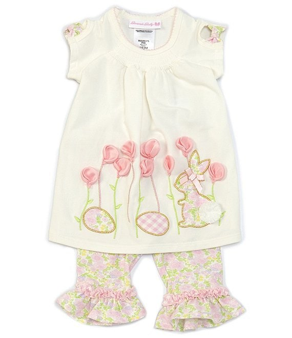 Color:Pink - Image 1 - Bonnie Baby Baby Girls Newborn-24 Months Bunny Garden Top & Floral-Print Leggings Set