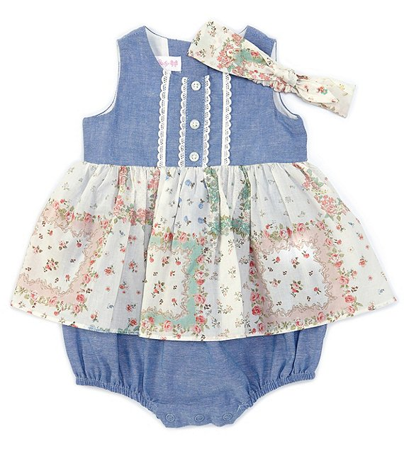 Color:Chambray - Image 1 - Bonnie Baby Baby Girls Newborn-24 Months Chambray Mixed-Media Skirted Bodysuit