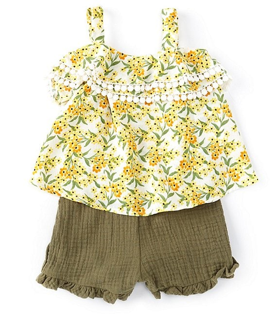 Color:Yellow - Image 1 - Baby Girls 12-24 Months Floral-Printed Challis Top & Gauze Shorts Set