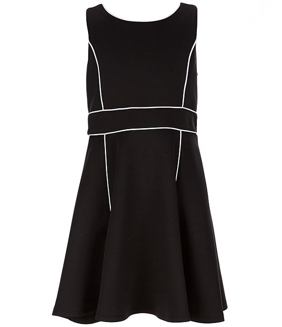 Color:Black - Image 1 - Big Girls 7-16 Bow-Back Scuba Crepe Fit-And-Flare Dress