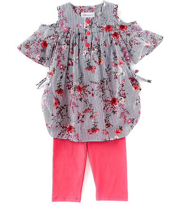 Bonnie Jean Little Girls 2T-6X Stripe/Floral Tunic & Solid Capri Leggings Set