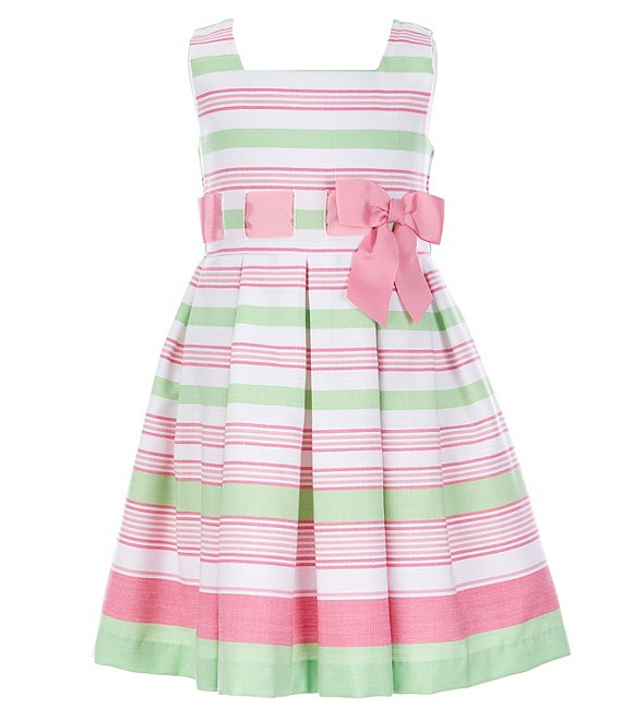 Color:Green - Image 1 - Little Girls 2T-6X Ribbon-Waist Border-Stripe Fit-And-Flare Dress