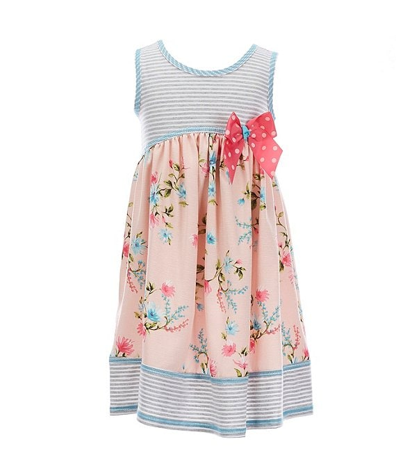 Color:Peach - Image 1 - Little Girls 2T-6X Striped/Floral A-Line Dress