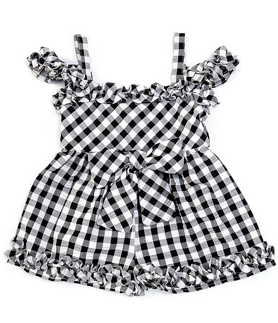 Bonnie Jean Little Girls 4-6X Cold-Shoulder Checked Seersucker Romper