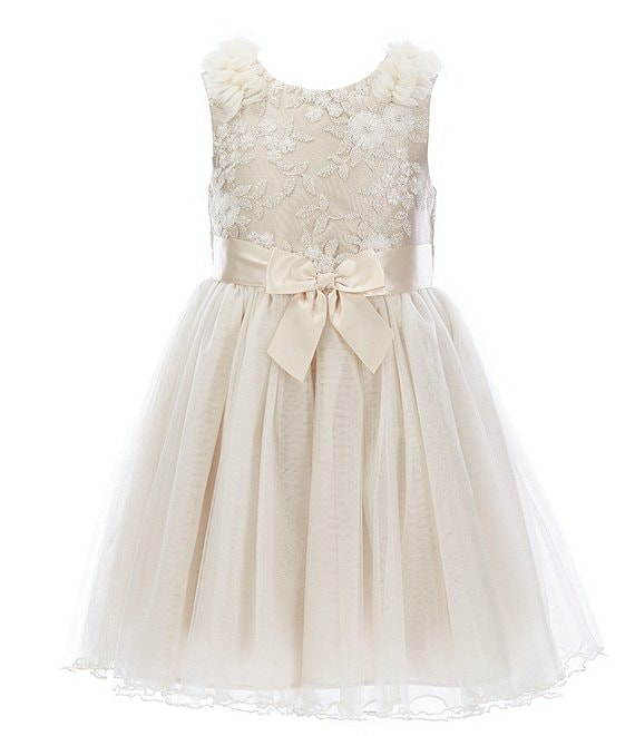 Color:Ivory - Image 1 - Toddler Girls 2T-4T Embroidered/Mesh Ballerina Dress