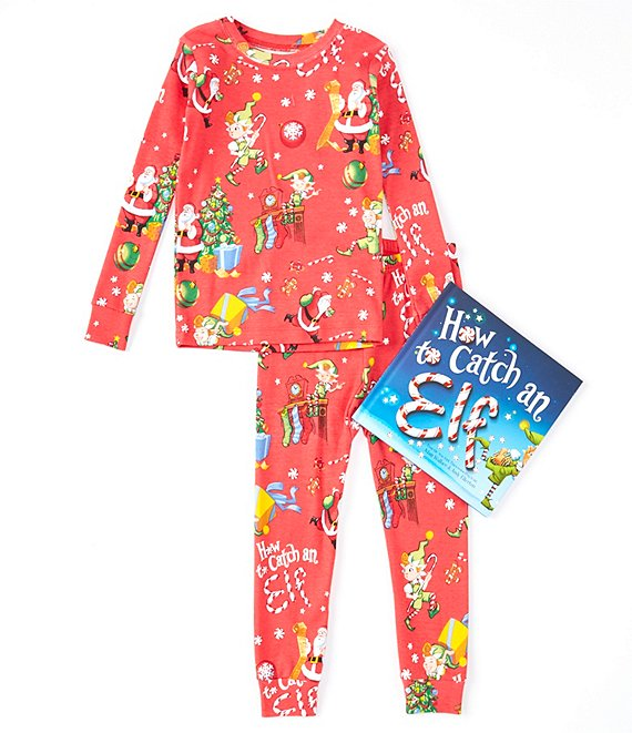Color:Red - Image 1 - Little/Big Boys 2-10 How To Catch An Elf Pajamas & Book Set