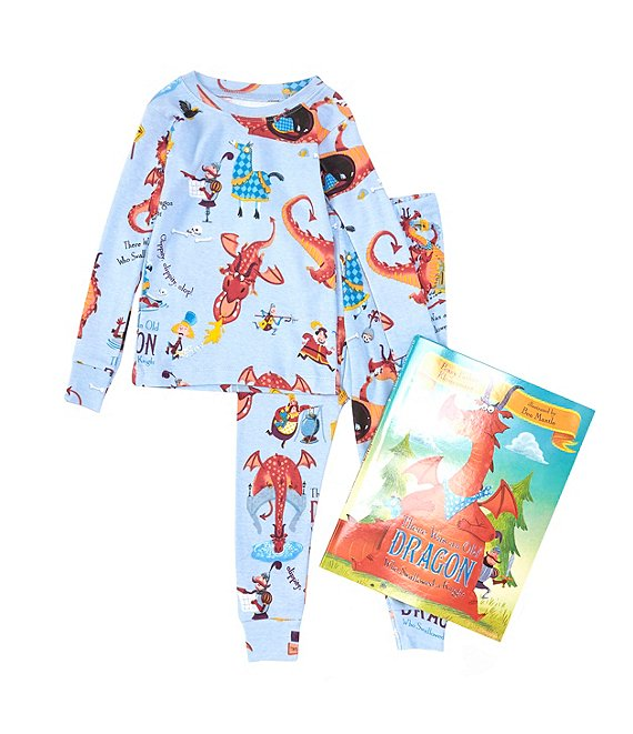 Books To Bed Little/Big Boys 2-10 There Was An Old Dragon Who Swallowed A Knight Pajamas & Book Set