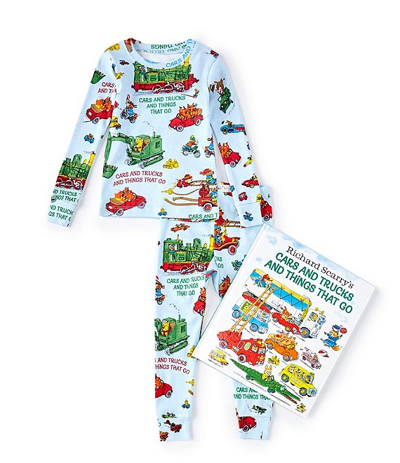 Color:Blue - Image 1 - Little/Big Boys 2-6 Cars & Trucks & Things That Go Pajamas & Book Set