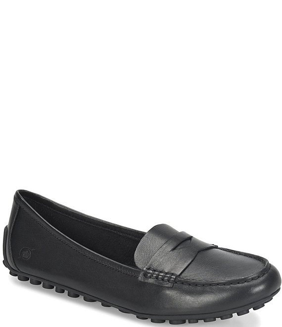 Color:Black - Image 1 - Malena Leather Dress Penny Loafers