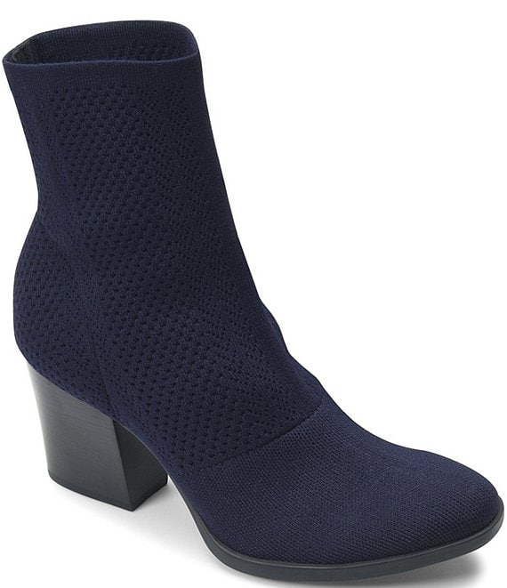 Color:Navy - Image 1 - Meggs Too Stretch Knit Block Heel Booties