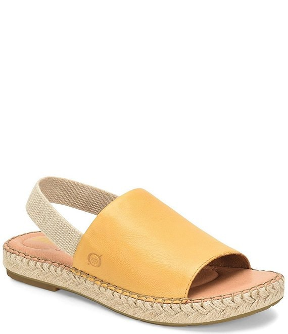 Color:Ocra Yellow - Image 1 - San Isabel Leather Stretch Sling Espadrille Sandals