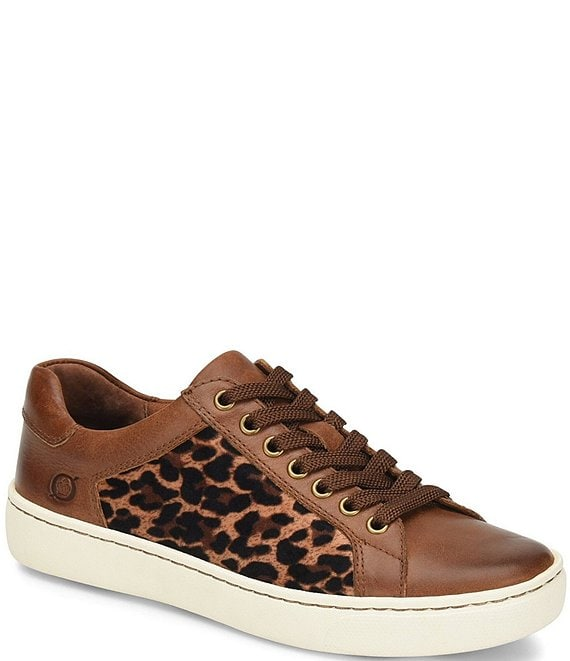 Color:Light Brown Leopard - Image 1 - Sur Leather Leopard Print Fabric Sneakers