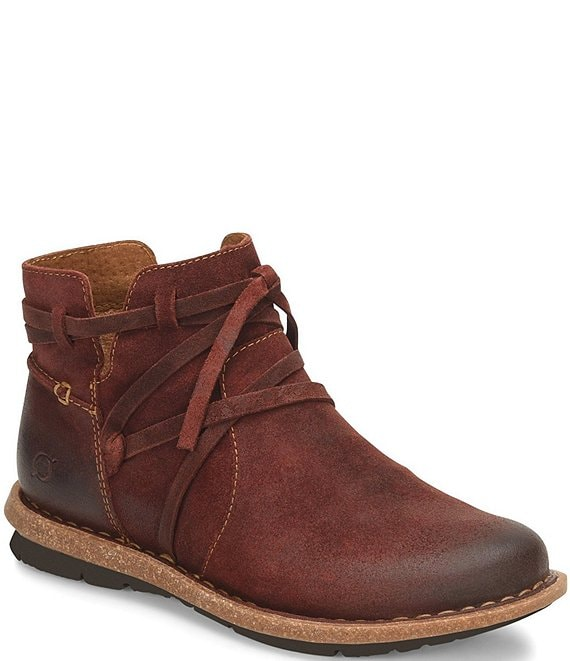 Color:Burgundy - Image 1 - Tarkiln Distressed Wraparound Lace Detail Leather Booties