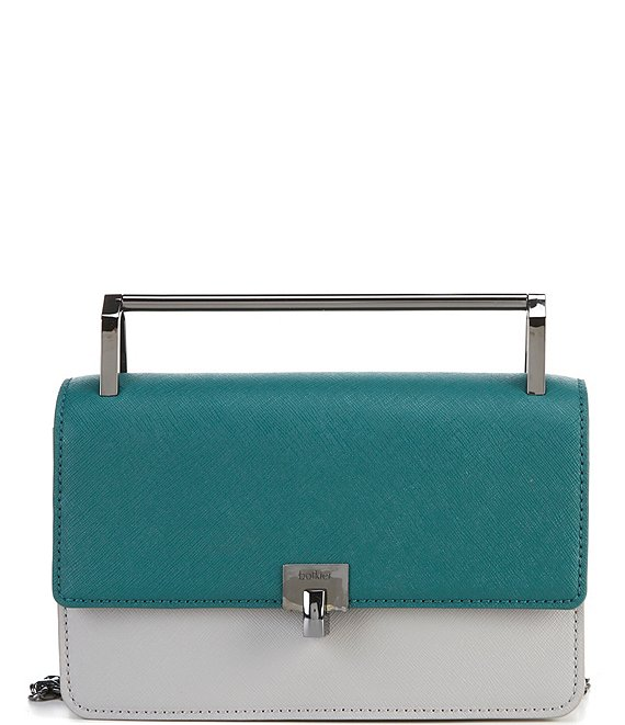 Color:Emerald Combo - Image 1 - Lennox Saffiano Leather Combo Small Crossbody Bag