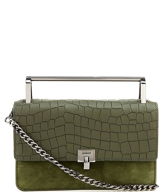 Color:Winter Green Croco - Image 1 - Lennox Small Croco Leather and Suede Crossbody Bag