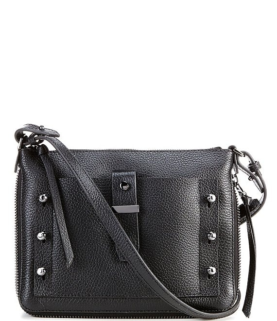 Color:Black - Image 1 - Warren Leather Studded Top Zip Crossbody Bag